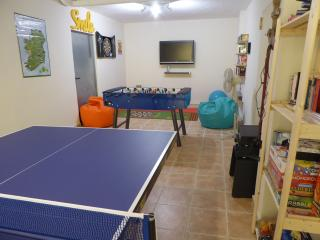 Games Room/Library, Table Tennis, Table Football, Darts, DVD, workout, board games, music, books etc