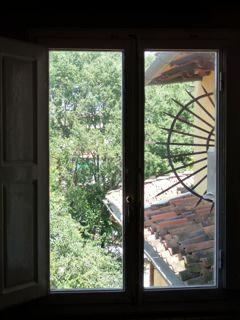 The view on the park from the master bedroom
