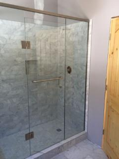Glass wall walk in shower