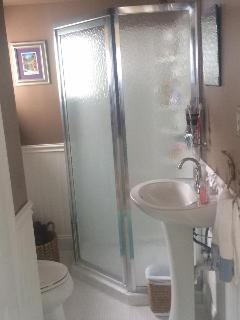 Downstairs bathroom with stall shower.