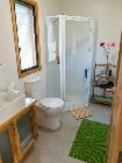Shower, toilet and basin with linen supplied.