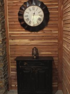 Time stands still here; enjoy the books and games inside the hutch.