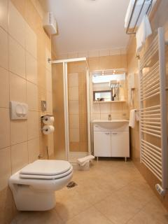 Bathroom with a shower, hairdryer, towels and toiletries