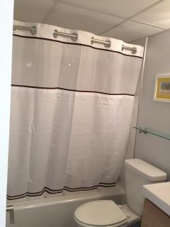 Brand new bathroom.  Plenty of space for toiletries, wet towels & swimsuits