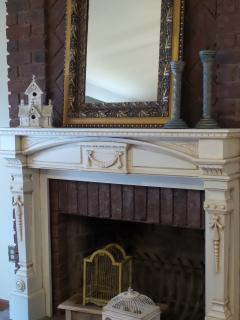 Our antique mantel.