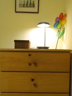 Chest of drawers in the single bedroom.