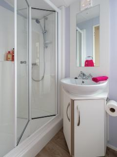 Family shower room with wash basin, toilet and mirror