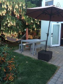 door opens up to the patio