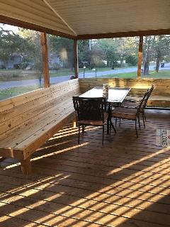 New L-shaped built in bench, seating for 12.