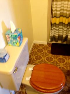 loft bathroom with shower.