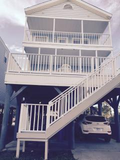 REAR OF HOME AND 2 DECKS. 30 STEPS FROM THE BEACH