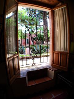 Vista del salón al jardín exterior