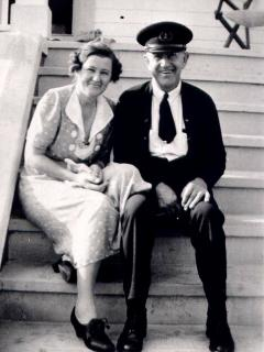 Caretaker  Jens Pedersen and wife Elsie, circa 1940s.