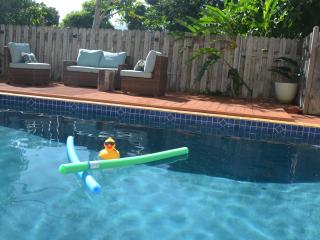 The house comes with pool floats and toys as well as boogie boards, snorkel gear, and sand toys.