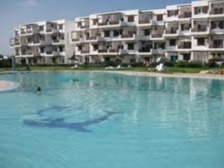 large pool has shallow end and is protected by low fence.