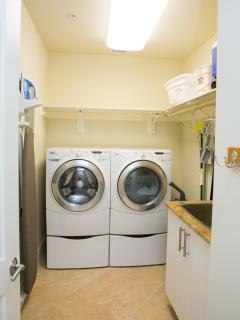 HE large capacity washer and dryer and laundry sink
