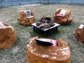 Cozy fire pit fashioned from our own Shenandoah Valley timber!  Now that's really hip!