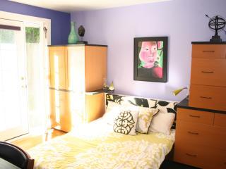 Bedroom with queen bed is quiet and comfortable