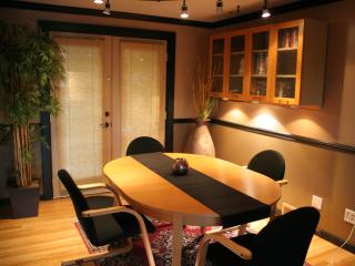 Dining room with French doors to private pation