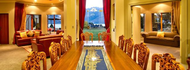 Formal dining room facing the lake
