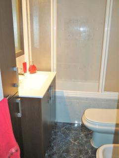 bathroom: bath-tube/shower, bidet, hair dryer, towels, shampoo, soap.