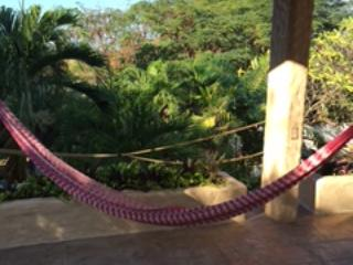 Relax upstairs in hammocks