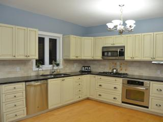 Open kitchen with stainless appliances, granite counter tops and custom millwork