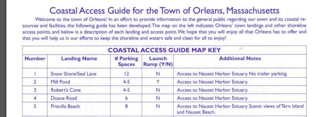 Coastal access guide for the town of Orleans
