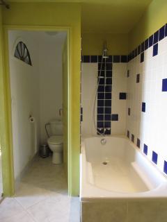 Baignoire et wc privatif de la chambre 1
