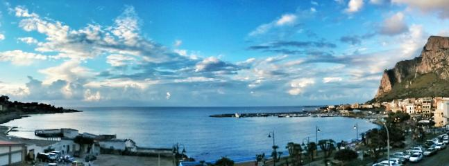 Panoramic View of Sferracavallo Bay. View from the font house's balcony.