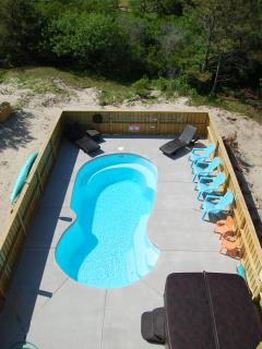 Large pool and hot tub