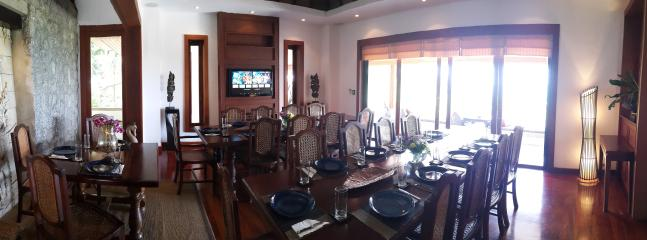 The villa surin dining room boasts seating capacity for 30.