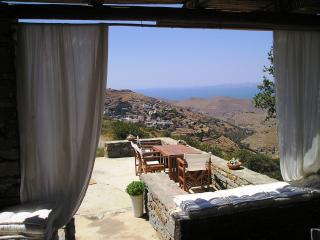 Traditional stone house with magical views of the sea on the island Kea., Korissia
