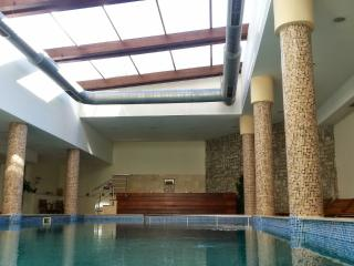 Take a swim and watch the sky through the glass roof.
