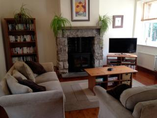 Living room with wood stove and patio doors