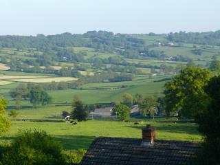 The beautiful Otter Valley, the cottage roof is in the foreground.