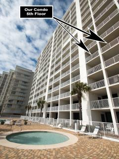 View of the back of our Condo--see how HUGE our Balcony is?!  Kiddie Pool right below!