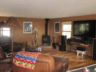 70 inch tv, wood burning stove, living area