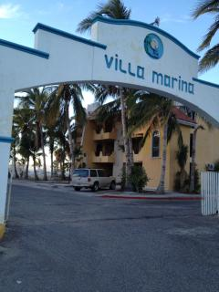 South entrance to the marina with condo building behind it. This gate is locked at 11pm.