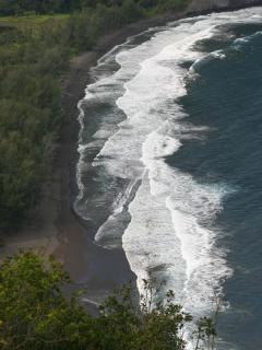 A view of the beach at Waipio Valley.