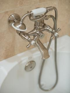 Jetted tub fixture with handheld wand to make rinsing off easy! The ladies will love this!