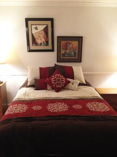 master bedroom has Queen bed and private bath, plenty of closet and storage space.
