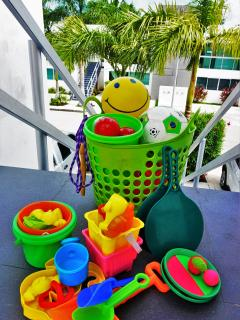 Various beach toys and games