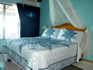 spacious bedroom with ocean view