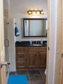 The master bath has a walk in shower.