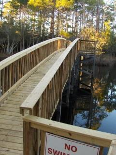 Bridge over our small lake.  Kids can fish the lake without a license.