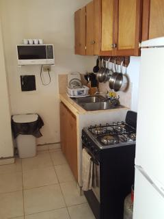 A complete kitchen downstairs