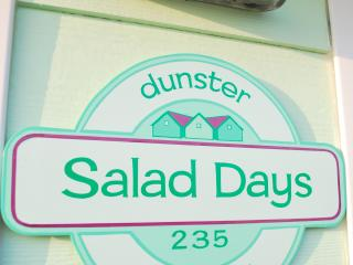 Sign outside at Salad Days Dunster
