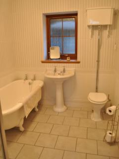 Main Bathroom with rolltop tub & separate walk-in shower