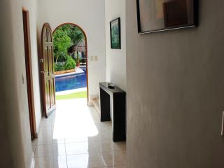 Casa Selva Caribe hallway - open the front door and see the beautiful pool and Playcar aviary